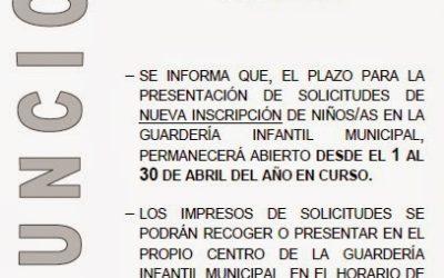 Abierto el plazo de presentación de solicitudes de nueva inscripción en la Guardería Infantil Municipal