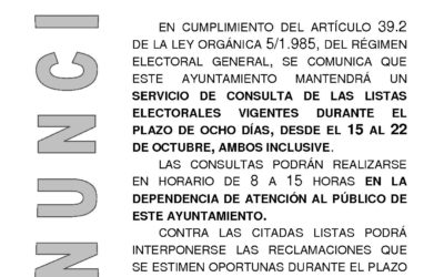 Exposición pública de las listas del censo electoral para las elecciones al Parlamento Andaluz.
