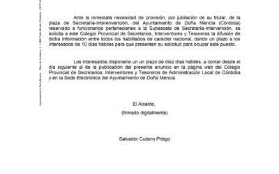 VACANTE PUESTO SECRETARÍA-INTERVENCIÓN