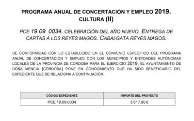 PROGRAMA ANUAL DE CONCERTACIÓN Y EMPLEO 2019. CULTURA (II)