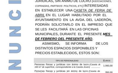 ADJUDICACIÓN DE ESPACIOS PARA CASETAS DE FERIA EN LA AVDA. DEL LADERÓN.