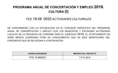 PROGRAMA ANUAL DE CONCERTACIÓN Y EMPLEO 2019. CULTURA (I)
