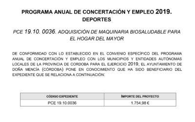 PROGRAMA ANUAL DE CONCERTACIÓN Y EMPLEO 2019. DEPORTES