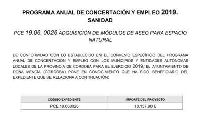 PROGRAMA ANUAL DE CONCERTACIÓN Y EMPLEO 2019. SANIDAD