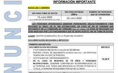 Anuncio de cambio en las fechas para la renovación del DNI prevista para el día 19 en Doña Mencía