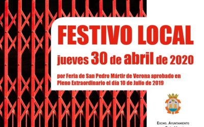 Festivo local jueves 30 de abril de 2020