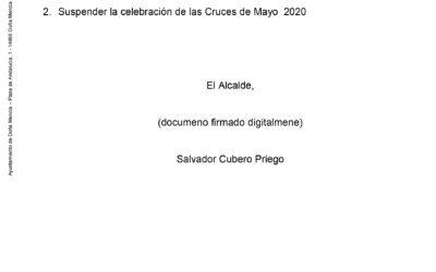 Comunicado Ayuntamiento de Doña Mencía