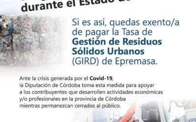 Reducción del importe de la tarifa correspondiente a la GESTIÓN DE RESIDUOS SÓLIDOS URBANOS