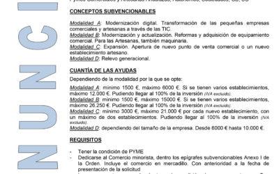 CONVOCATORIA DE AYUDAS AL COMERCIO Y ARTESANÍA