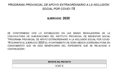 PROGRAMA PROVINCIAL DE APOYO EXTRAORDINARIO A LA INCLUSIÓN SOCIAL POR COVID-19