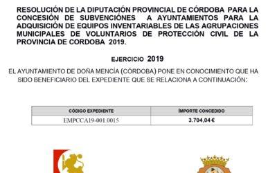 SUBVENCIÓNES  A AYUNTAMIENTOS PARA LA ADQUISICIÓN DE EQUIPOS INVENTARIABLES DE LAS AGRUPACIONES MUNICIPALES DE VOLUNTARIOS DE PROTECCIÓN CIVIL DE LA PROVINCIA DE CORDOBA  2019.