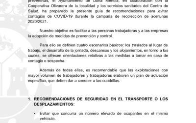 GUÍA PARA EVITAR CONTAGIOS DE COVID-19EN CAMPAÑA DE ACEITUNA 2020/2021