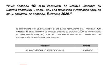 Plan Córdoba 10: plan provincial de medidas urgentes en materia económica y social con los municipios y entidades locales de la provincia de Córdoba
