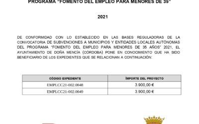 """PROGRAMA """"FOMENTO DEL EMPLEO PARA MENORES DE 35"""" 2021"""