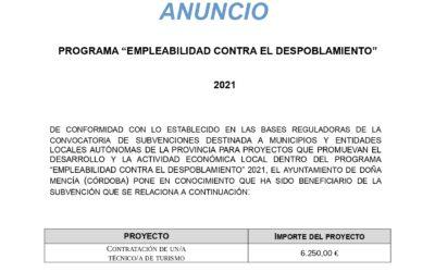 """PROGRAMA """"EMPLEABILIDAD CONTRA EL DESPOBLAMIENTO"""" 2021"""
