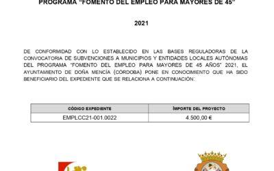 """PROGRAMA """"FOMENTO DEL EMPLEO PARA MAYORES DE 45"""" 2021"""