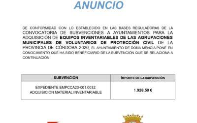 SUBVENCIONES A AYUNTAMIENTOS PARA LA ADQUISICIÓN DE EQUIPOS INVENTARIABLES DE LAS AGRUPACIONES MUNICIPALES DE VOLUNTARIOS DE PROTECCIÓN CIVIL DE LA PROVINCIA DE CÓRDOBA 2020