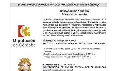 Convocatoria de subvenciones a Municipios y Entidades Locales Autónomas que desarrollen Proyectos, Programas y Actividades para conseguir la igualdad de oportunidades entre mujeres y hombres y la eliminación de la discriminación por razón de sexo u orientación sexual (ejercicio 2021)